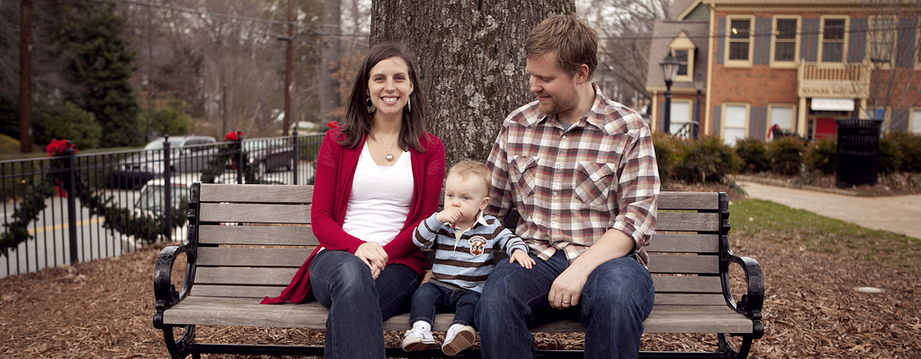 Josh, Leah and Ben on a park bench